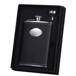 Visol Eclipse Z Black Leather Essential II Liquor Flask Gift Set - 8 ounces