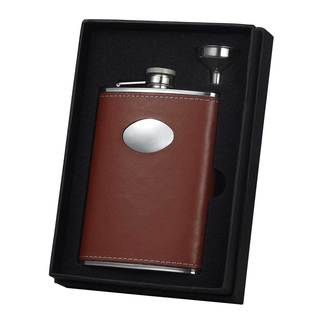 Visol Bobcat Brown Leather Essential II Liquor Flask Gift Set - 8 ounces