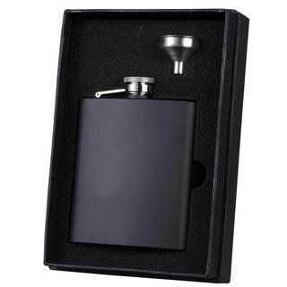 Visol Raven Black Matte Essential Liquor Flask Gift Set - 8 ounces
