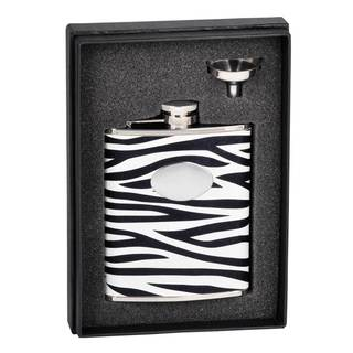Visol Zebra Black & White Leather Essential Flask Gift Set - 6 ounces