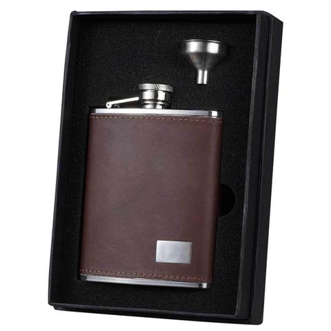 Visol Hunter Brown Leather Essential Liquor Flask Gift Set - 6 ounces