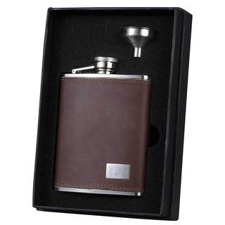 Visol Hunter Brown Leather Essential Liquor Flask Gift Set - 6 ounces