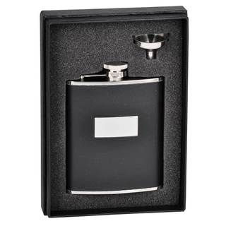 Visol Ontario Black Leather Essential Flask Gift Set - 6 ounces