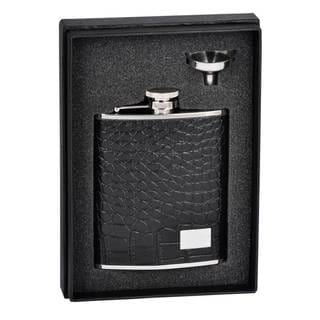 Visol Gator Black Crocodile Leather Essential Flask Gift Set - 6 ounces