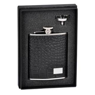 Visol Gator Black Crocodile Leather Essential Flask Gift Set - 6 ounces