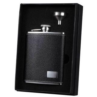 Visol Eclipse S Black Leather Essential Liquor Flask Gift Set - 6 ounces