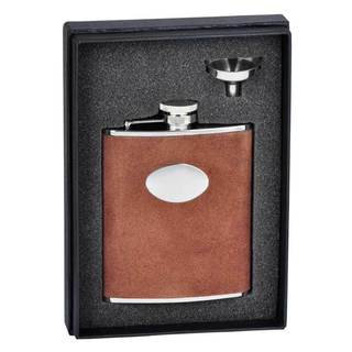 Visol Cowboy Brown Leather Essential Flask Gift Set - 6 ounces