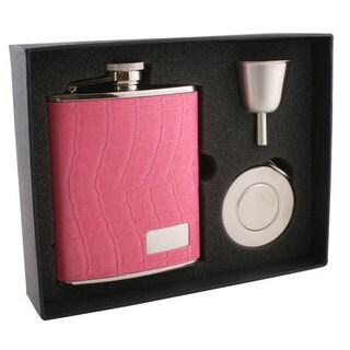 Visol Splendid Hot Pink Crocodile Pattern Stellar Flask Gift Set - 6 ounces