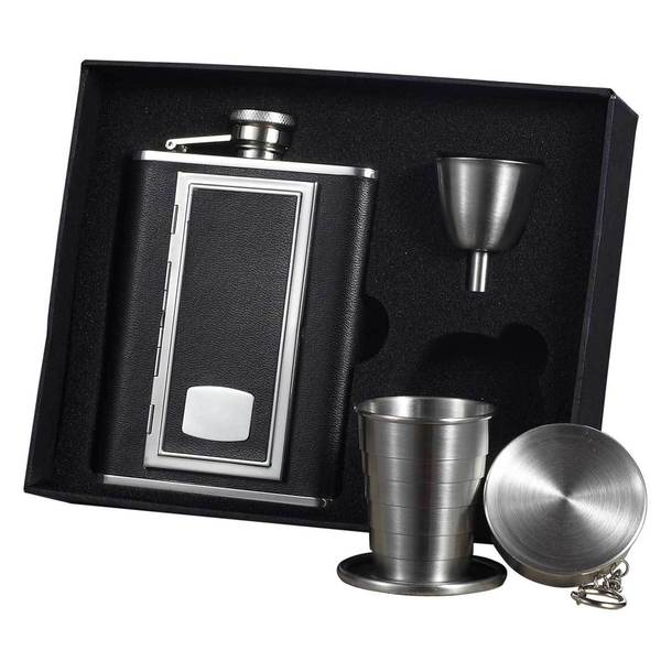 Visol SP Black Stellar Flask Gift Set with Built-In Cigarette Case - 6 ounces