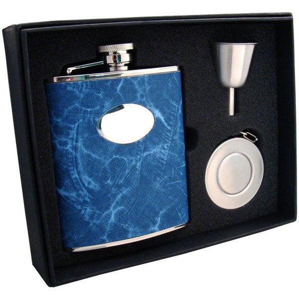 Visol Denim Blue Jean Pattern Stellar Flask Gift Set - 6 ounces - Denim Blue
