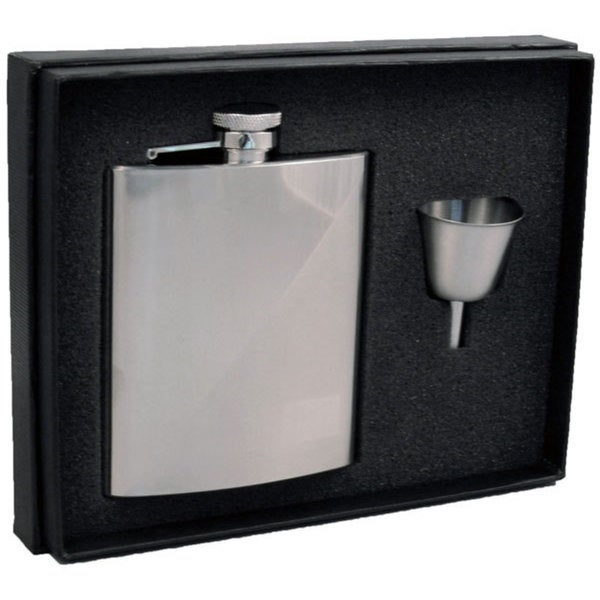 Visol Duo Two-Tone Stainless Steel Legacy Flask Gift Set - 8 ounces - Silver