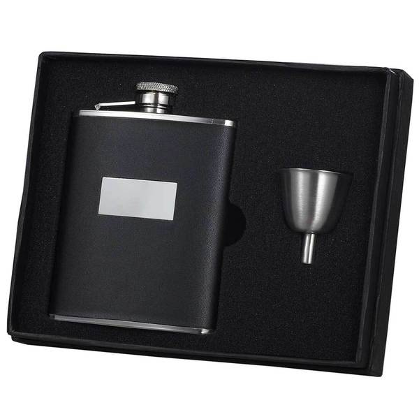 Visol Ontario Black Leather Legacy Flask Gift Set - 6 ounces