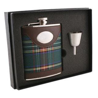Visol Edinburgh Plaid & Leather Legacy Flask Gift Set - 6 ounces