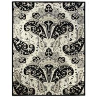 Black Paisley Wave (8'x11') Wool Rug - 8' X 11'