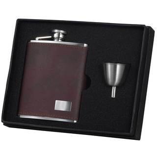 Visol Hunter Dark Brown Leather Legacy Flask Gift Set - 6 ounces