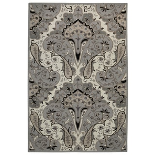 Silver Paisley Wave (5'x8') Wool Rug