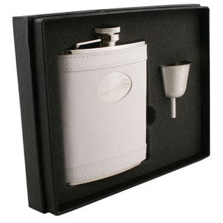 Visol Cloud White Leather Legacy Flask Gift Set - 6 ounces