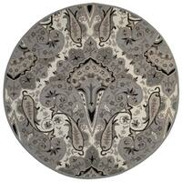 Silver Paisley Wave (6'x6') Round Wool Rug