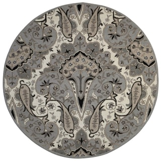 Silver Paisley Wave (8'x8') Round Wool Rug