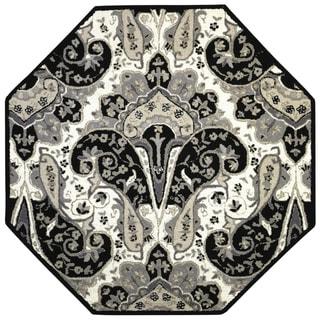 Black Paisley Wave (6'x6') Octagon Wool Rug - 6' x 6' Octagon