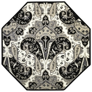 Black Paisley Wave (6'x6') Octagon Wool Rug