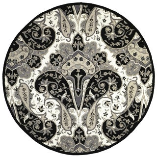 Black Paisley Wave (6'x6') Round Wool Rug