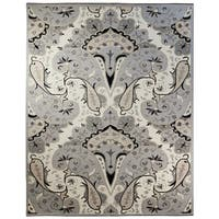 Silver Paisley Wave (8'x11') Wool Rug - 8' X 11'