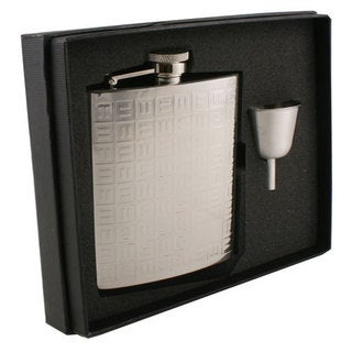 Visol Domino Pattern Stainless Steel Legacy Flask Gift Set - 8 ounces