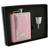 Visol SP Pink Legacy Flask Gift Set With Built In Cigarette Case - 6 ounces