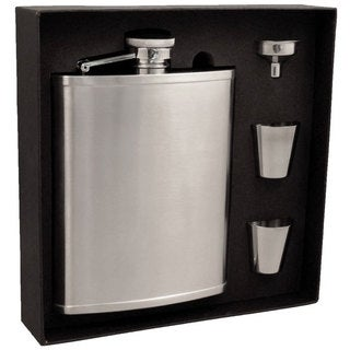 Visol Edge Satin Finish Stainless Steel Jumbo Flask Gift Set - 18 ounces