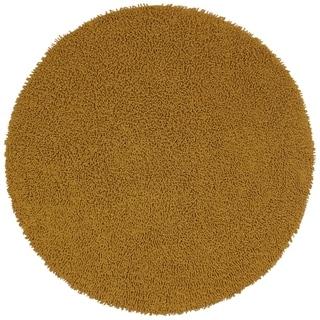 Gold Shagadelic Chenille Twist (2'x2') Round Shag Rug