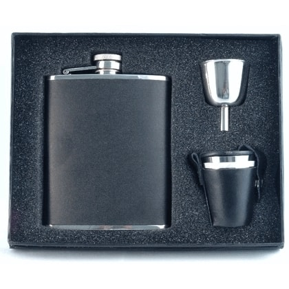 Visol Ano Black Leather Deluxe Flask Gift Set - 6 ounces