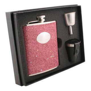 Visol Carina Red Glitter Deluxe Flask Gift Set - 6 ounces
