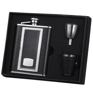 Visol SP Black Deluxe Flask Gift Set with Built-In Cigarette Case - 6 ounces