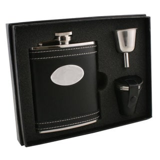 Visol Marlon Black Leather Deluxe Flask Gift Set - 6 ounces