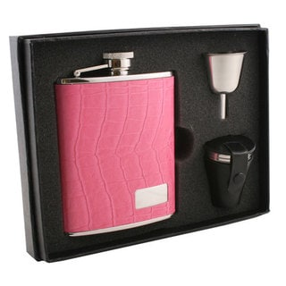Visol Splendid Hot Pink Crocodile Pattern Deluxe Flask Gift Set - 6 ounces