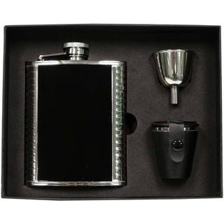 Visol Astaire Black and Stainless Steel Deluxe Flask Gift Set - 6 ounces