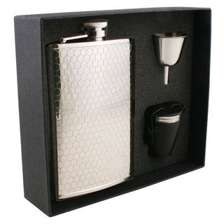 Visol Hive Beehive Pattern Stainless Steel Deluxe II Flask Gift Set - 8 ounces