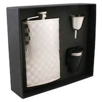 Visol Mate Checker Design Stainless Steel Deluxe II Flask Gift Set - 8 ounces