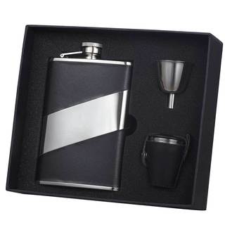 Visol Descent Black Leather and Stainless Steel Deluxe II Flask Gift Set - 8 ounces