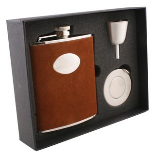 Visol Cowboy Brown Leather Stellar Flask Gift Set - 6 ounces