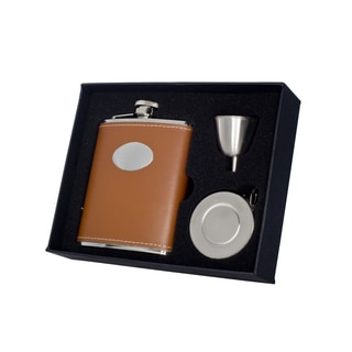 Visol Bobcat Brown Leather Stellar Flask Gift Set - 6 ounce
