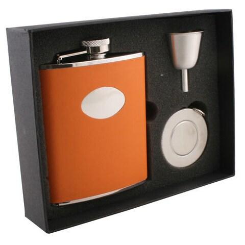 Visol Sunbeam Orange Leather Stellar Flask Gift Set - 6 ounces