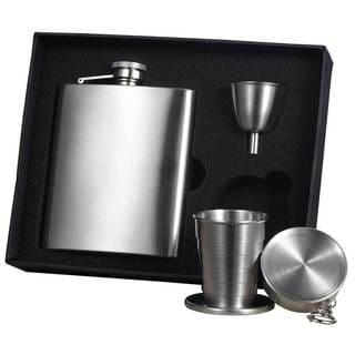 Visol Derek Satin Finish Stainless Steel Stellar Flask Gift Set - 8 ounces