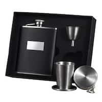 Visol Ontario Black Leather Stellar Flask Gift Set - 6 ounces