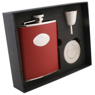 Visol Sienna Red Leather Stellar Flask Gift Set - 6 ounces