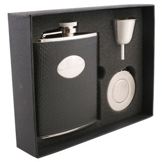 Visol Corspa Black Snakeskin Pattern Stellar Flask Gift Set - 6 ounces