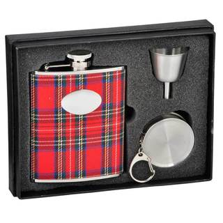 Visol Scrooge Red Plaid Stellar Flask Gift Set - 6 ounces