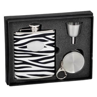 Visol Zebra Black & White Leather Stellar Flask Gift Set - 6 ounces