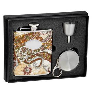 Visol Floral Paisley Pattern Stellar Flask Gift Set - 6 ounces